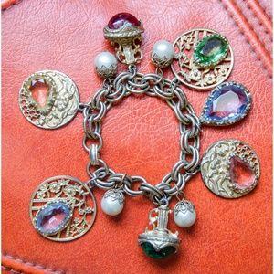Vintage 1950's Chunky Woman's Charm Bracelet